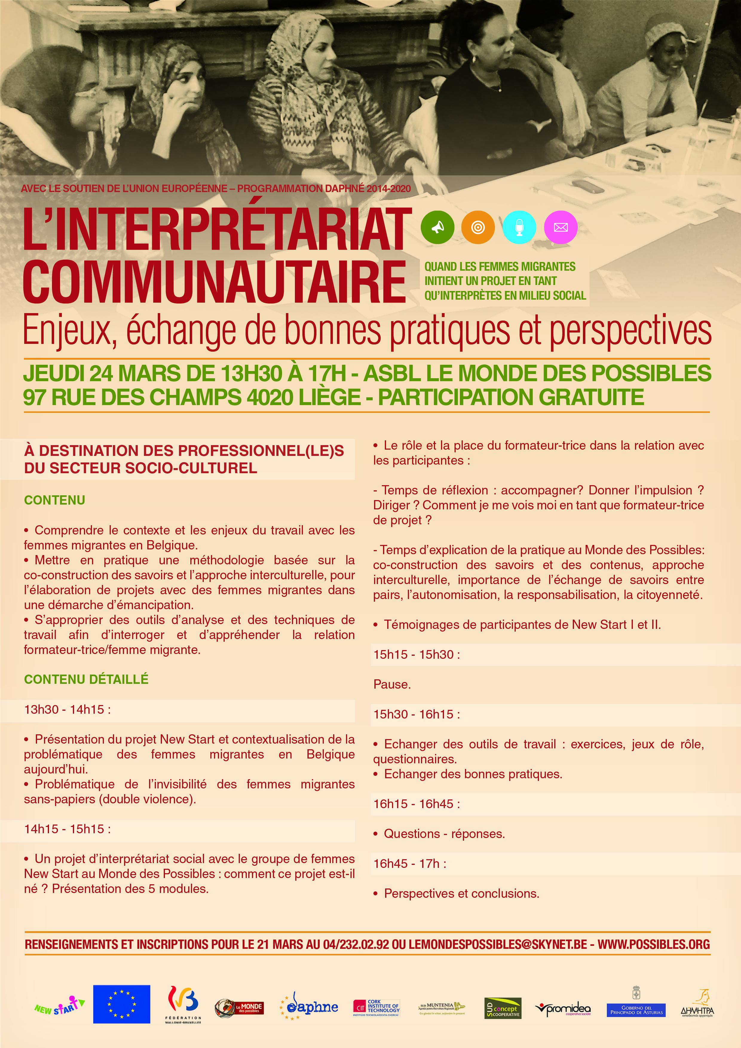 Affiche NEW START rencontre de formation opérateurs socioculturels
