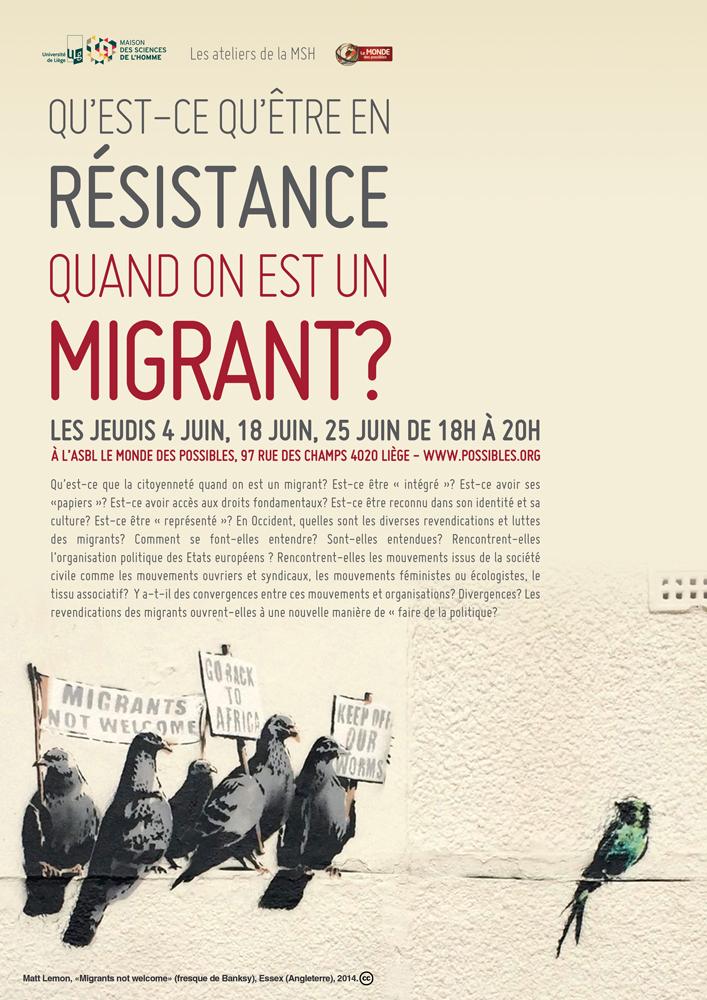"""Notes de synthèse sur l'atelier """"qu'est-ce qu'être en résistance quand on est migrant ?"""""""